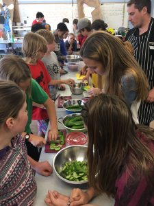 Student Salad Assembly Line